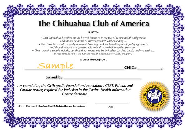 CHIC Sample Certificate